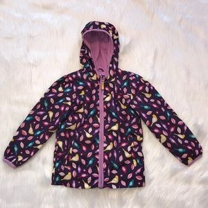 Girls Cat & Jack Birds Zip Up Hooded Rain Jacket